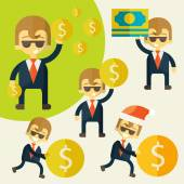 Set of cheerful businessman with his money. — Stock Vector
