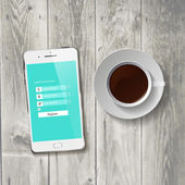 Coffee Cup with wooden Tablet — Stockvector