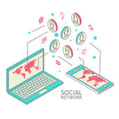Conceptual image with social networks. Flat isometry — Vetor de Stock