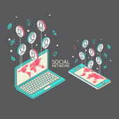 Conceptuele afbeelding met sociale netwerken. Platte isometrie — Stockvector