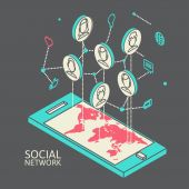 Conceptual image with social networks. Flat isometry — Stockvektor