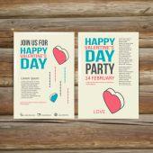летчик брошюры счастливый векторный шаблон дизайна дня святого валентина. — Cтоковый вектор
