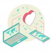 Isometric illustration for Valentines Day — Vecteur