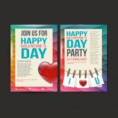 Brochure Flyer Happy Valentines Day design vector template. — Wektor stockowy