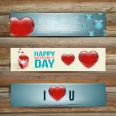 Vector Banners. Set of Three. Abstract Background With Hearts. — Stock Vector