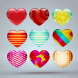 Set with colorful hearts 3d — Stock Vector #62431231