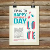 Happy Valentines Day Party Poster Design Template — Stock Vector
