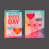 Happy Valentines Day Party Poster Design Template — Vector de stock