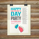 Happy Valentines Day Party Poster Design Template — Stockvector
