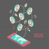Conceptual image with social networks. Flat  isometric — Vector de stock
