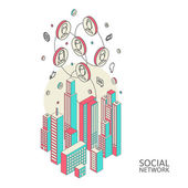 Conceptual image with social networks. Flat  isometric — Stock Vector