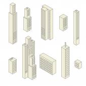 Set of vector tall buildings — Stock Vector