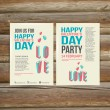Happy Valentines Day Party Poster Design Template — Stock Vector #62683607
