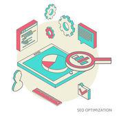 Isometric background seo optimization — Stock Vector