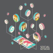 Conceptual image with social networks. Flat isometry — ストックベクタ