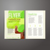 Abstract Brochure Flyer design with trees. — Stock Vector