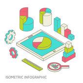 Isometric business finance analytics, chart graphic — Stock Vector
