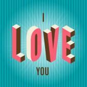 Glad alla hjärtans dagskort, jag älskar dig — Stockvektor