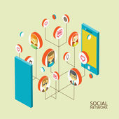 Conceptual image with social networks. Flat isometry — Stock Vector