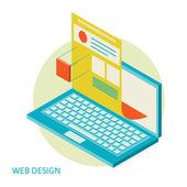 Mobile and desktop website design development process — Stock Vector