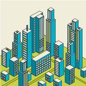 Vektorové izometrické centra na mapě se spoustou budov — Stock vektor