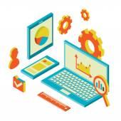 Isometric design modern concept of website analytics and SEO data analysis — Stock Vector