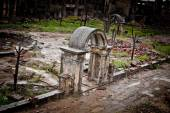 War devastation fear Russia, scenery, wet, dirty, home town — Stock Photo