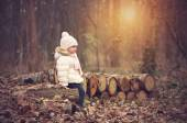 Little girl in the autumn forest — Stock Photo