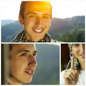 Happy young man rellaxing outdoor collage — Stock Photo
