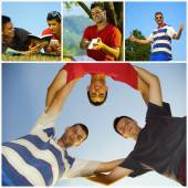 Collage happy young friends relaxing — Stock Photo