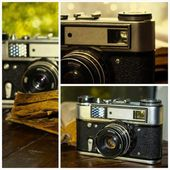 Collage image collection retro camera — Stockfoto