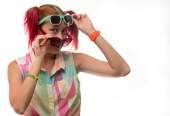 Girl with pigtails in glasses — Stock fotografie