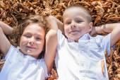Children sitting in foliage — Stock Photo