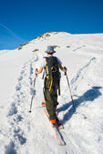 Alpine touring towards the summit — Stock Photo