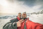 Alpinists selfie on the top — Stock Photo