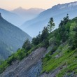Landslides in scenic alpine valley at dusk — Stock Photo #74341875