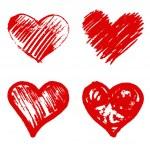 Set of 4 red heart  vector — Stock Vector #64141723