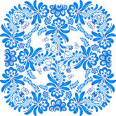 Blue floral ornament in gzhel style — Stock Vector