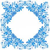 Blue ornamental floral frame in gzhel style — Stock Vector