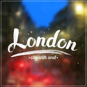 White calligraphy London sign on blurred photo — Stock Vector
