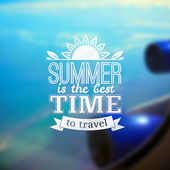 Summer travel vector typography design on blurred flight photo — Stock Vector