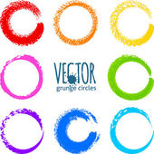 Rainbow colors brush strokes grunge circles — Vector de stock