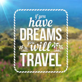 Typography travel design on blurred photo background — Stock Vector