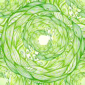 Green ornate doodle foliage circle seamless pattern — Stock Vector