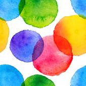 Bright rainbow colors watercolor painted circles seamless pattern — Stock Vector