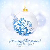 Bola de navidad blanca en estilo gzhel — Vector de stock