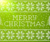 Green knitted seamless pattern with sign Merry Christmas — Stock Vector