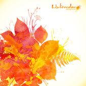 Aquarel geschilderd herfstbladeren vector achtergrond — Stockvector