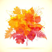 Watercolor painted autumn leaves vector banner — Stock Vector