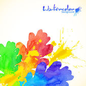 Rainbow colors watercolor painted oak and splashes — Vettoriale Stock